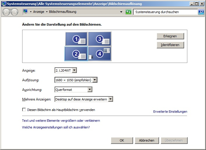 Server2008R2 Multimonitor Support mit VIER Bildschirmen
