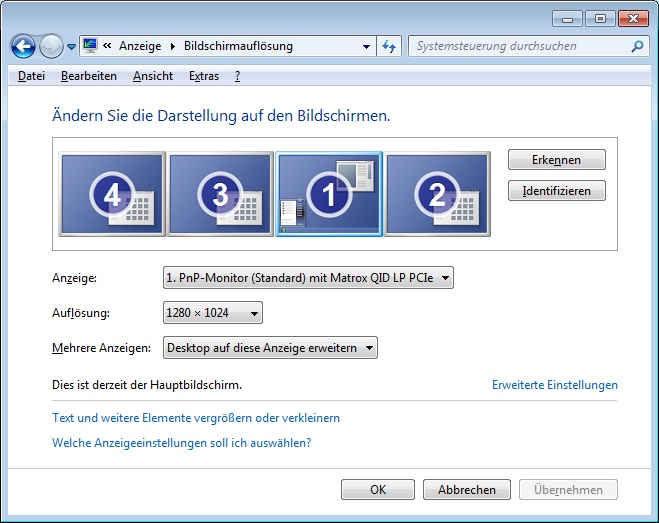 Windows7 Multimonitor Support mit VIER Bildschirmen